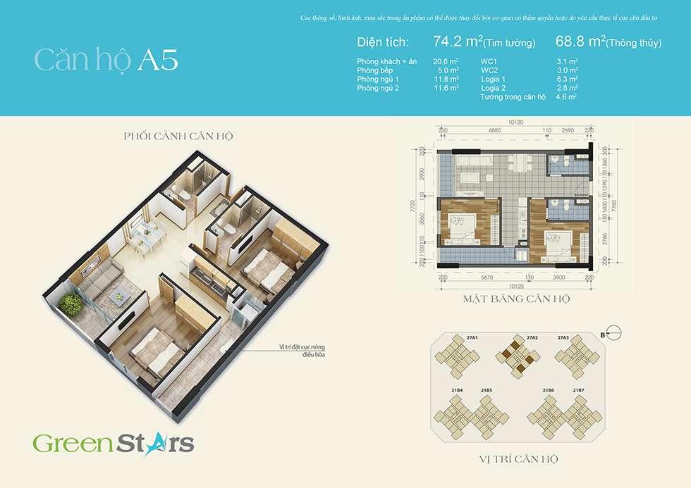 Thiết kế căn hộ A5 69 m2