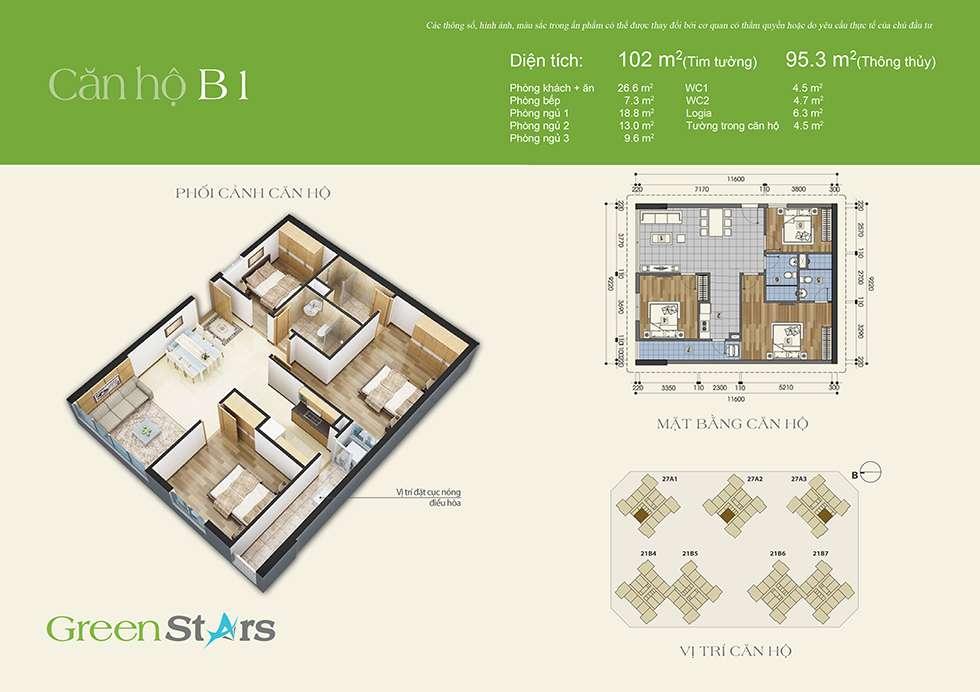 Thiết kế căn hộ B1 95 m2