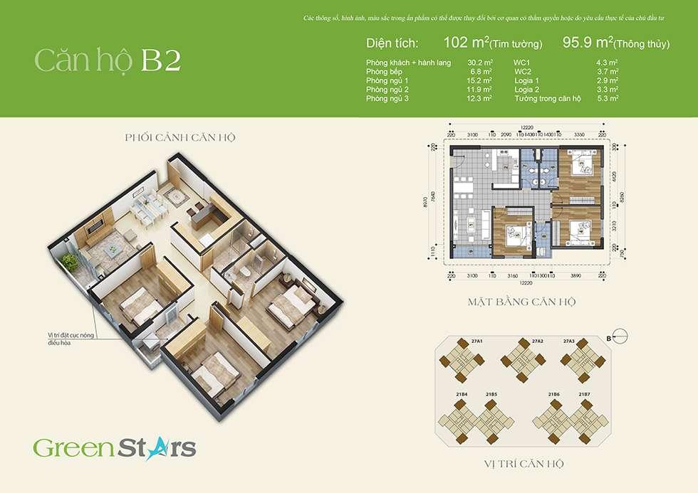 Thiết kế căn hộ B2 96 m2