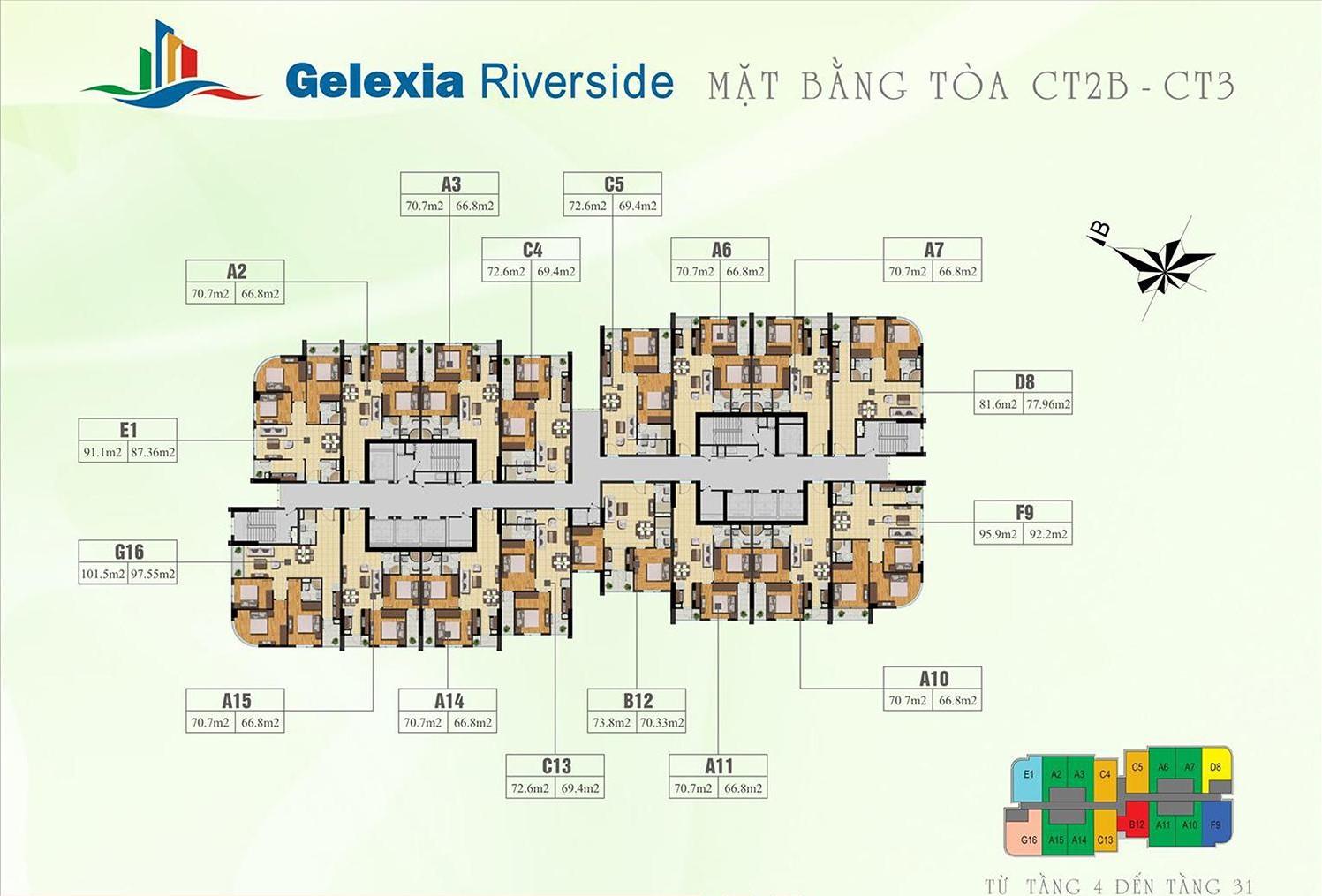 Mặt bằng tầng điển hình 4-31 tòa CT2B - CT3