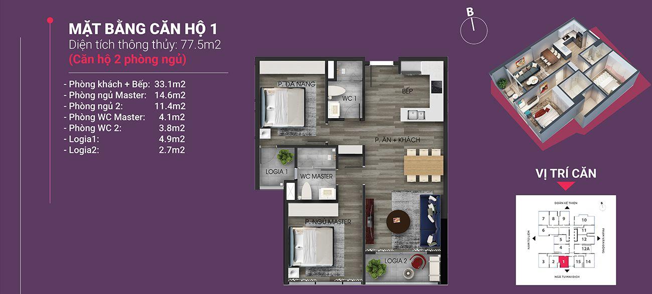 Căn hộ số 01 - Diện tích 77,5 m2. Thiết kế 2 ngủ 2 wc