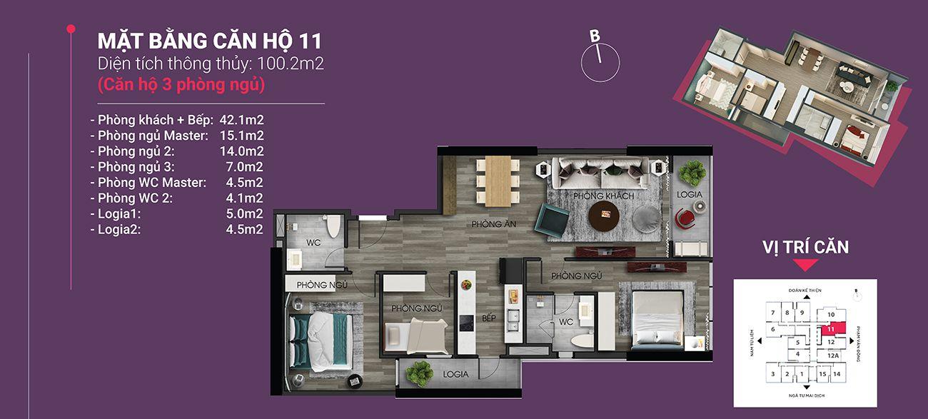 Căn hộ số 11 - Diện tích 100,2 m2. Thiết kế 3 ngủ 2 wc