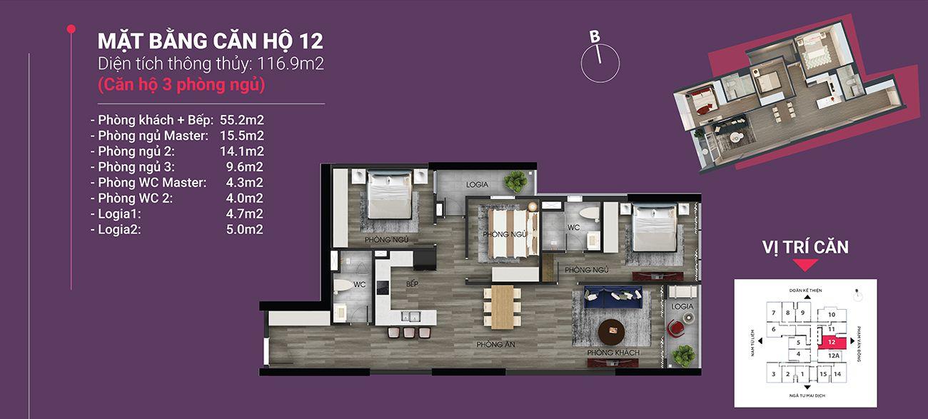 Căn hộ số 12 - Diện tích 116,9 m2. Thiết kế 3 ngủ 2 wc
