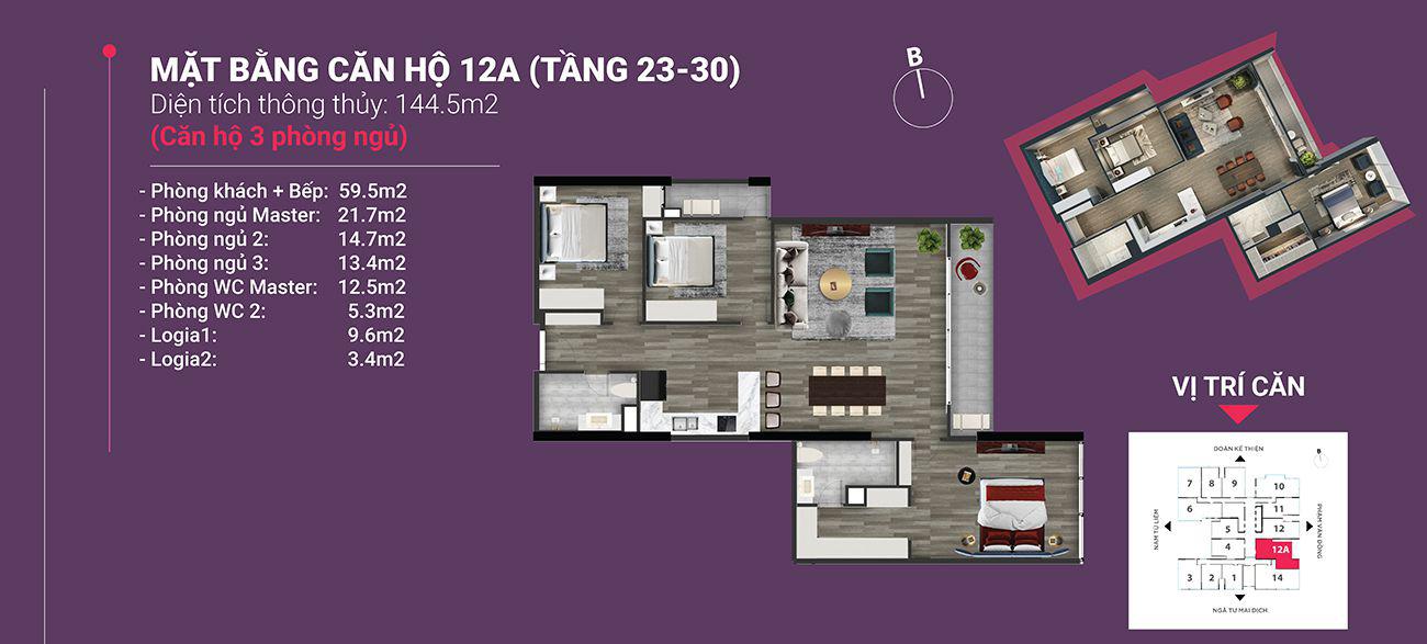 Căn hộ số 12A - Diện tích 144,5 m2. Thiết kế 3 ngủ 2 wc