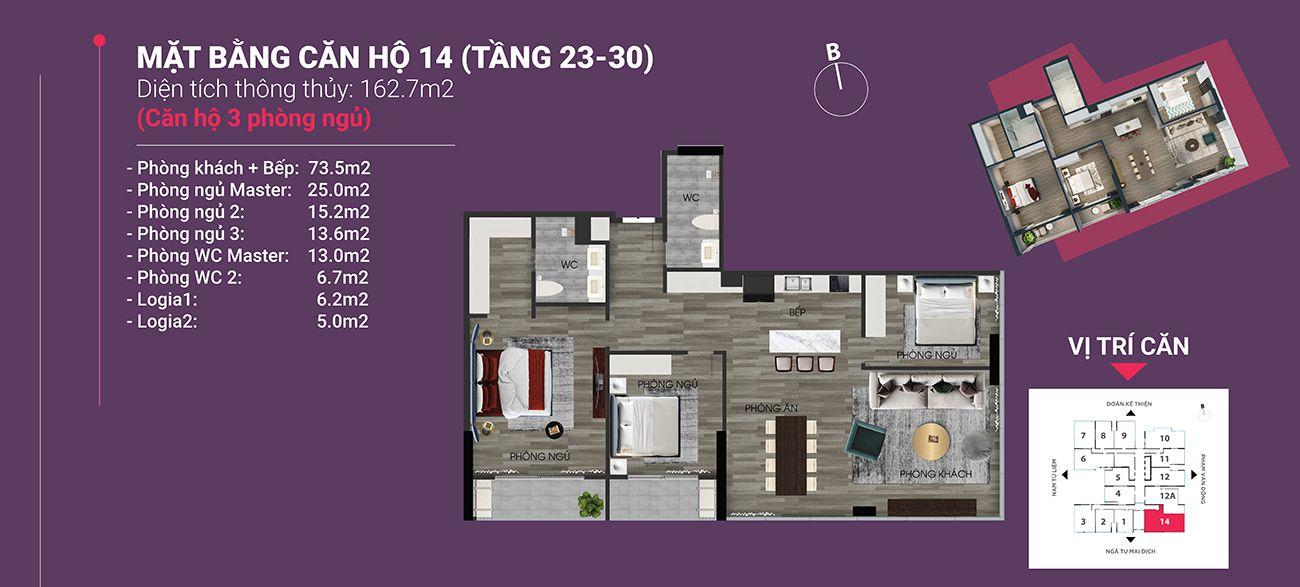 Căn hộ số 14- Diện tích 162,7 m2. Thiết kế 3 ngủ 2 wc