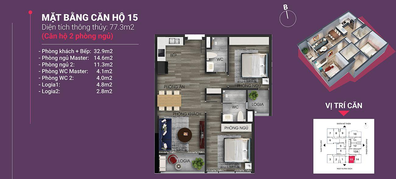 Căn hộ số 15 - Diện tích 77,3 m2. Thiết kế 2 ngủ 2 wc