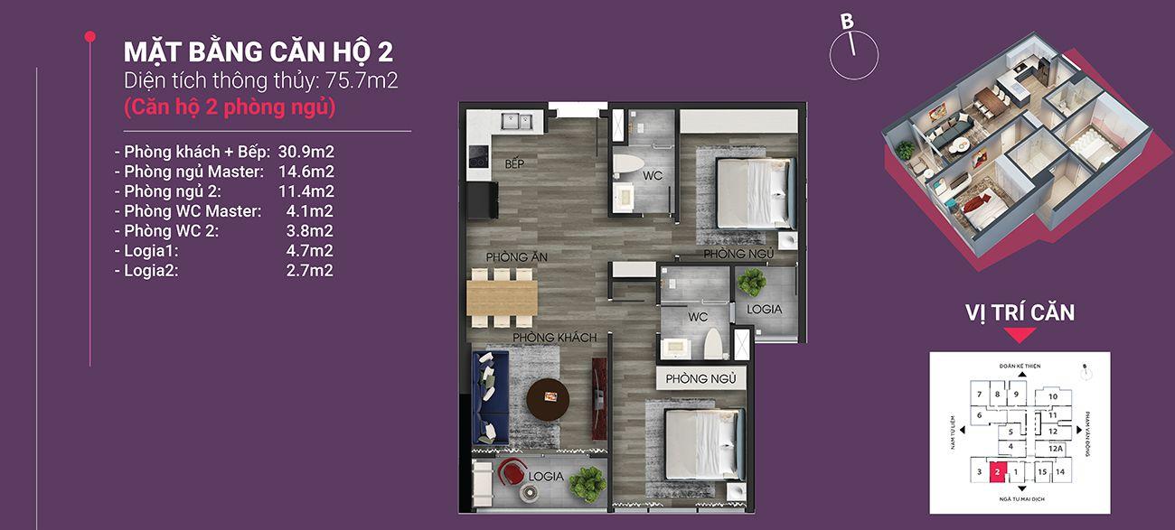 Căn hộ số 02 - Diện tích 75,7 m2. Thiết kế 2 ngủ 2 wc