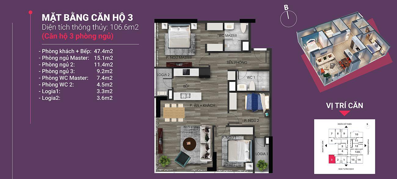 Căn hộ số 03 - Diện tích 106,6 m2 m2. Thiết kế 3 ngủ 2 wc