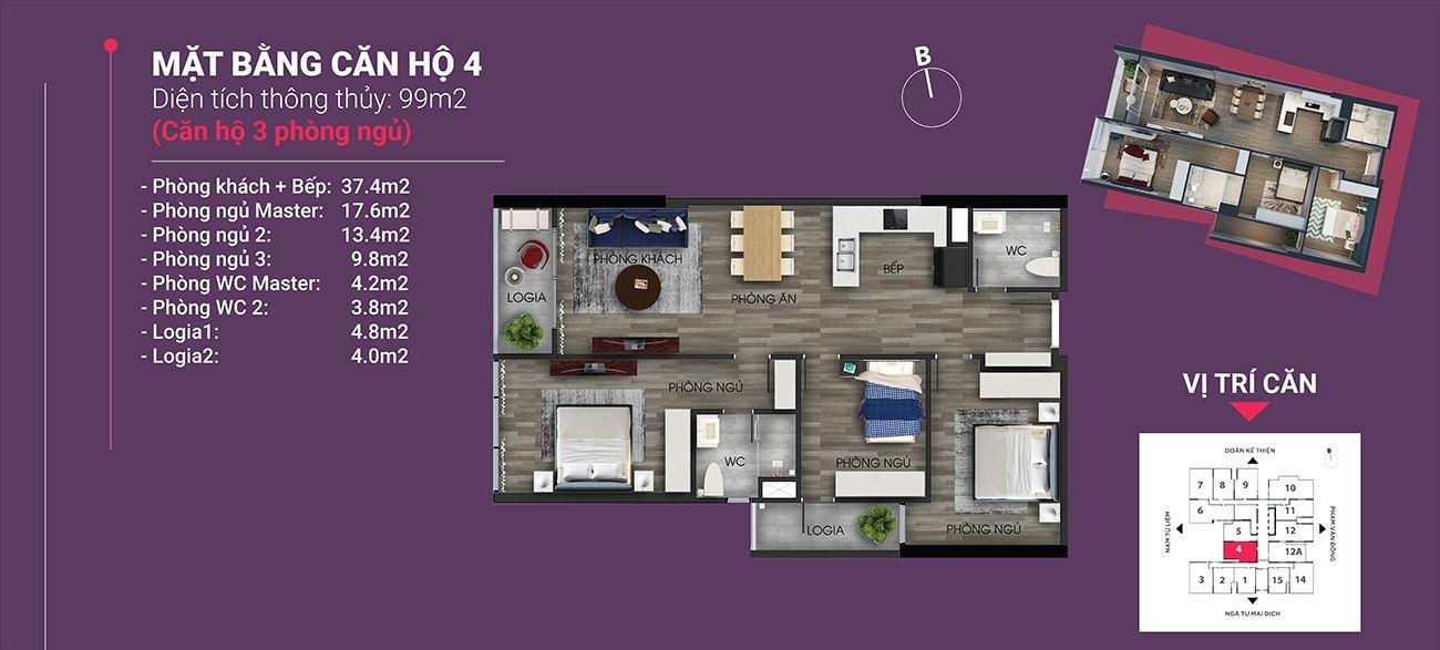 Căn hộ số 04 - Diện tích 99 m2. Thiết kế 3 ngủ 2 wc