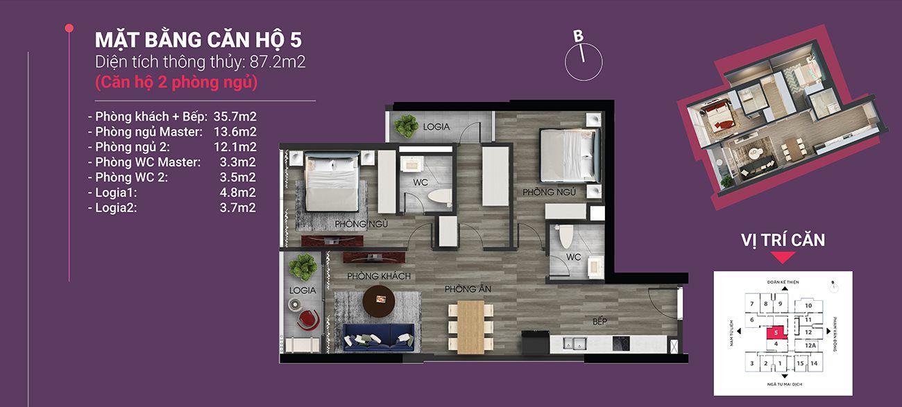 Căn hộ số 05 - Diện tích 87,2 m2. Thiết kế 2 ngủ 2 wc