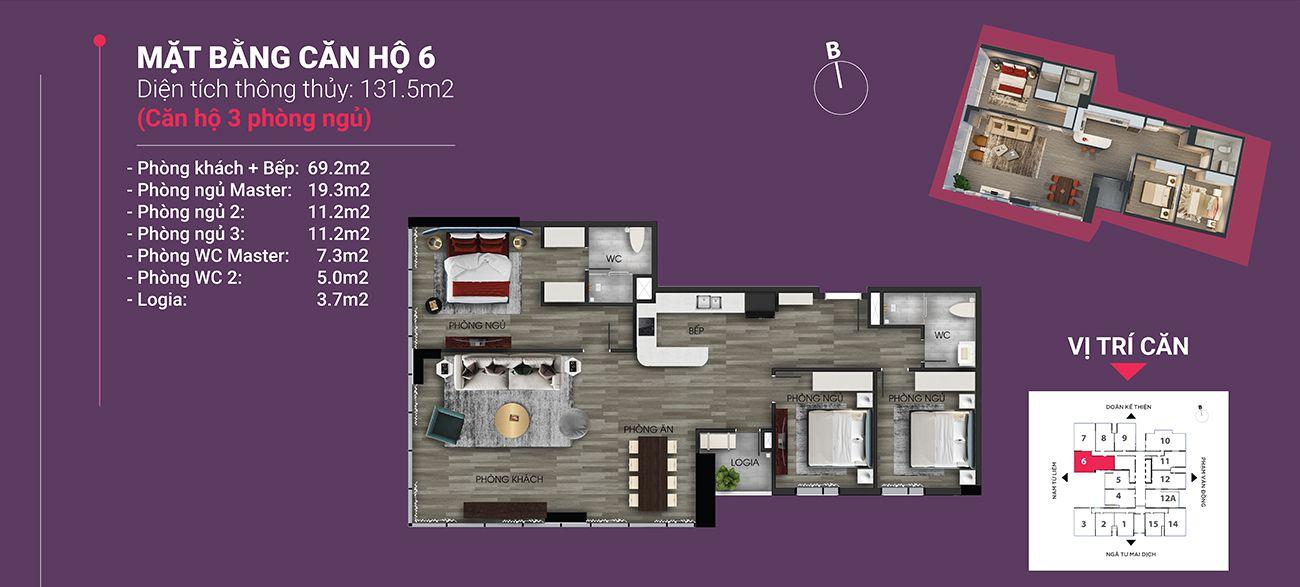 Căn hộ số 06 - Diện tích 131,5 m2. Thiết kế 3 ngủ 2 wc