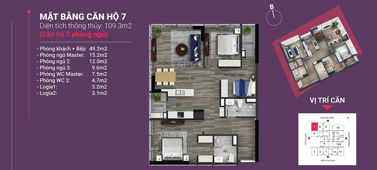 Căn hộ số 07 - Diện tích 109,3 m2. Thiết kế 3 ngủ 2 wc