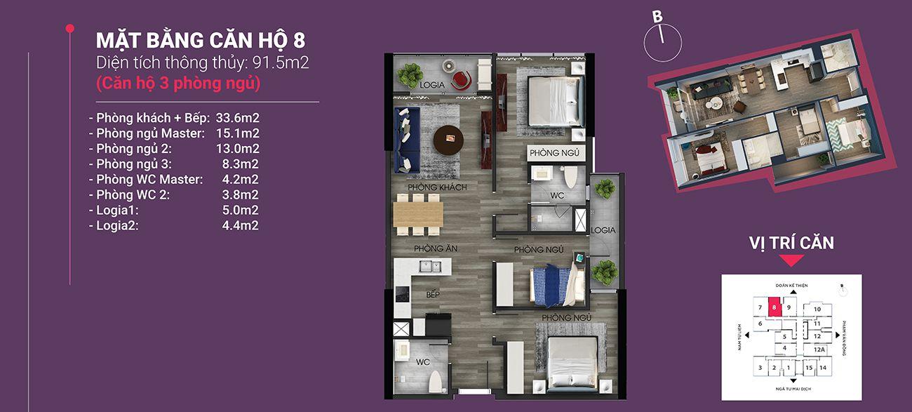 Căn hộ số 08 - Diện tích 91,5 m2. Thiết kế 3 ngủ 2 wc