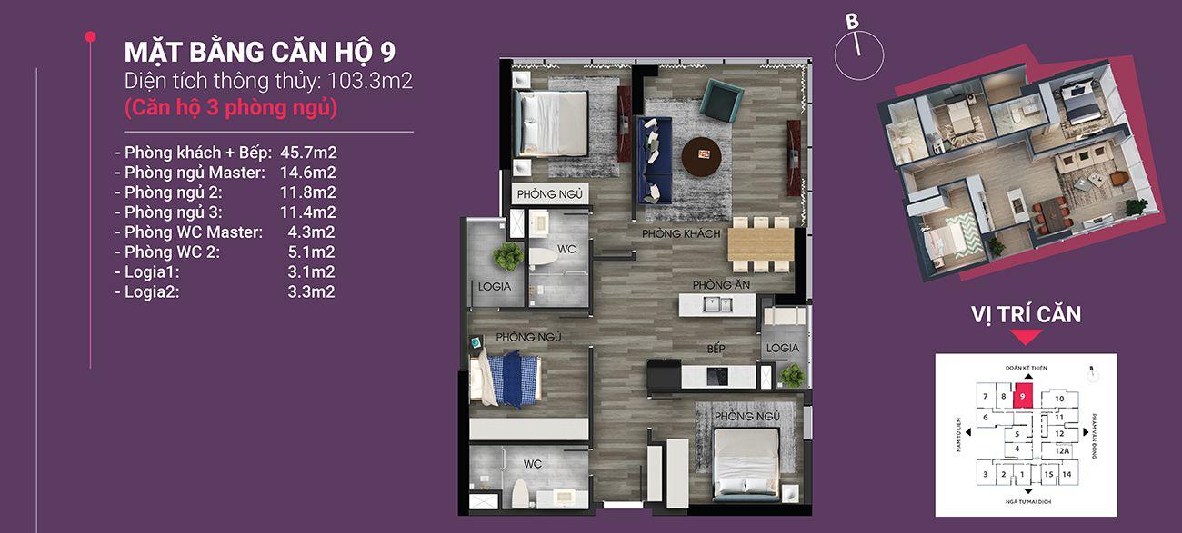 Căn hộ số 09 - Diện tích 103,3 m2. Thiết kế 3 ngủ 2 wc