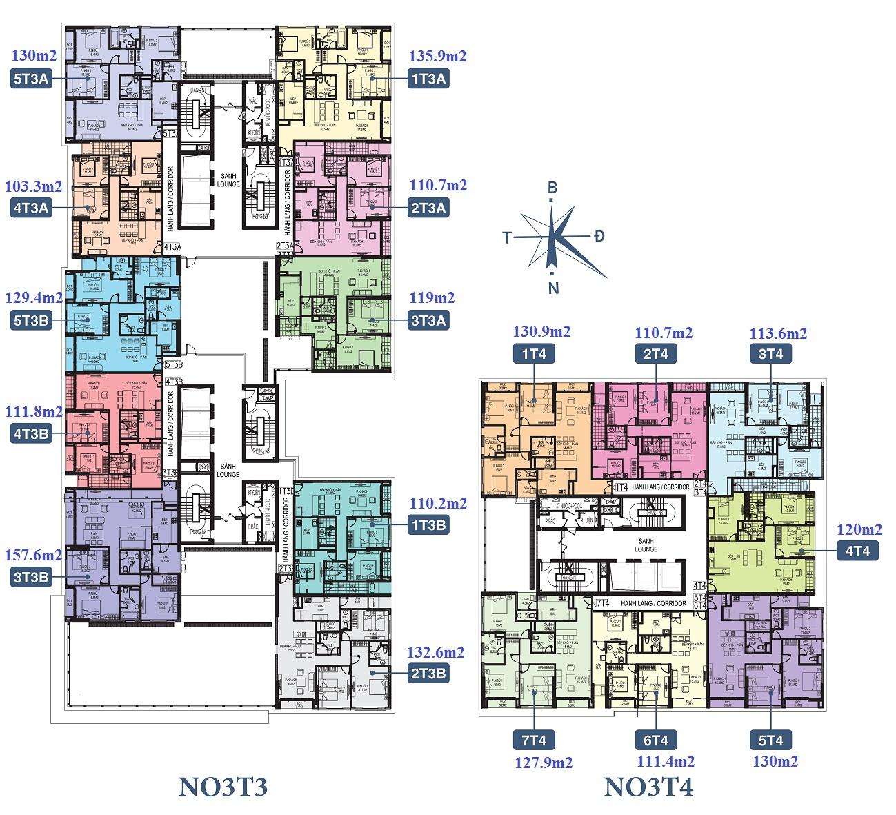 Mặt bằng thiết kế căn hộ N03T4 Ngoại Giao Đoàn
