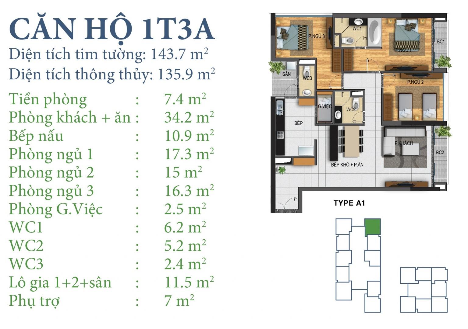 Tòa N03T3 – căn 1-T3A, S= 135,9m2 , Cửa: Nam, BC: Bắc – Đông