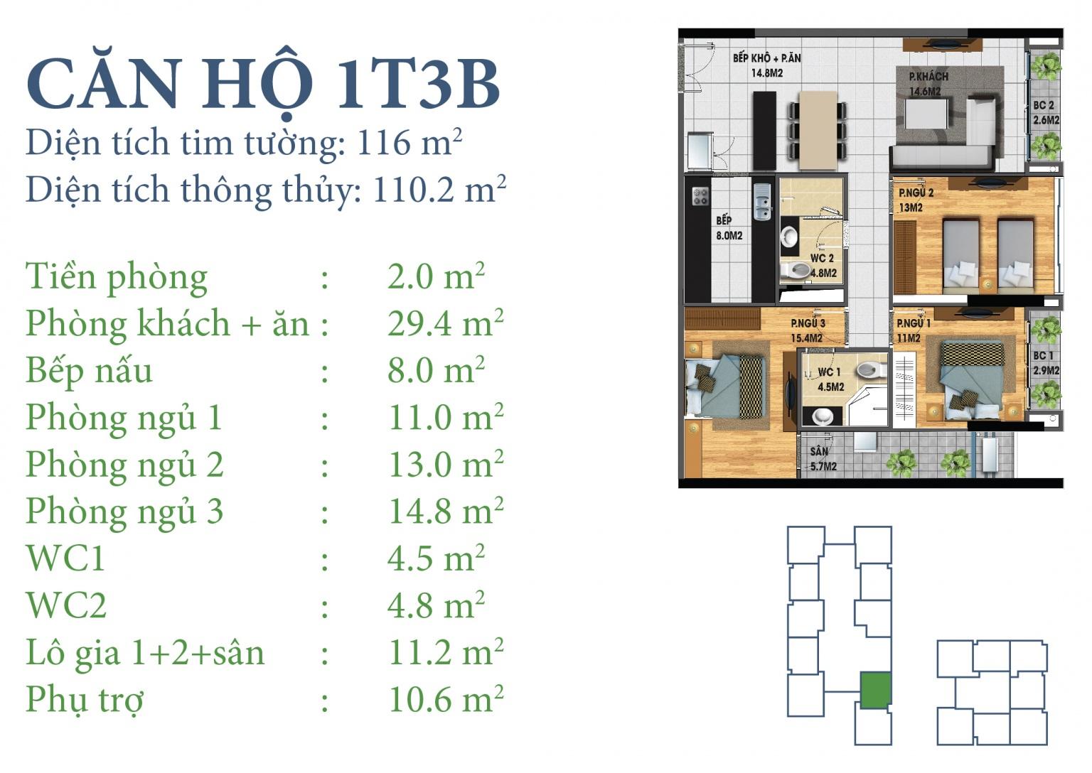 Tòa N03T3 – căn 1-T3B, S= 110,2m2 , Cửa: Tây, BC: Đông – Bắc