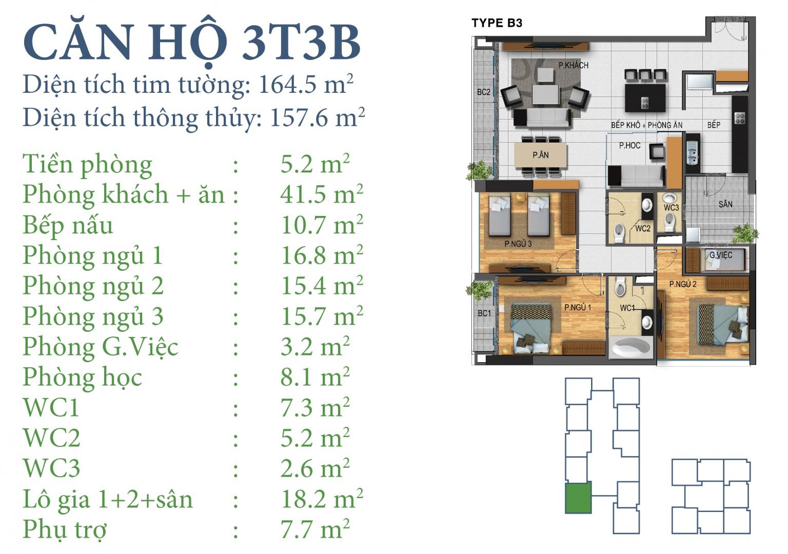 Tòa N03T3 – căn 3-T3B, S= 157,6m2 , Cửa: Bắc, BC: Đông – Nam – Tây