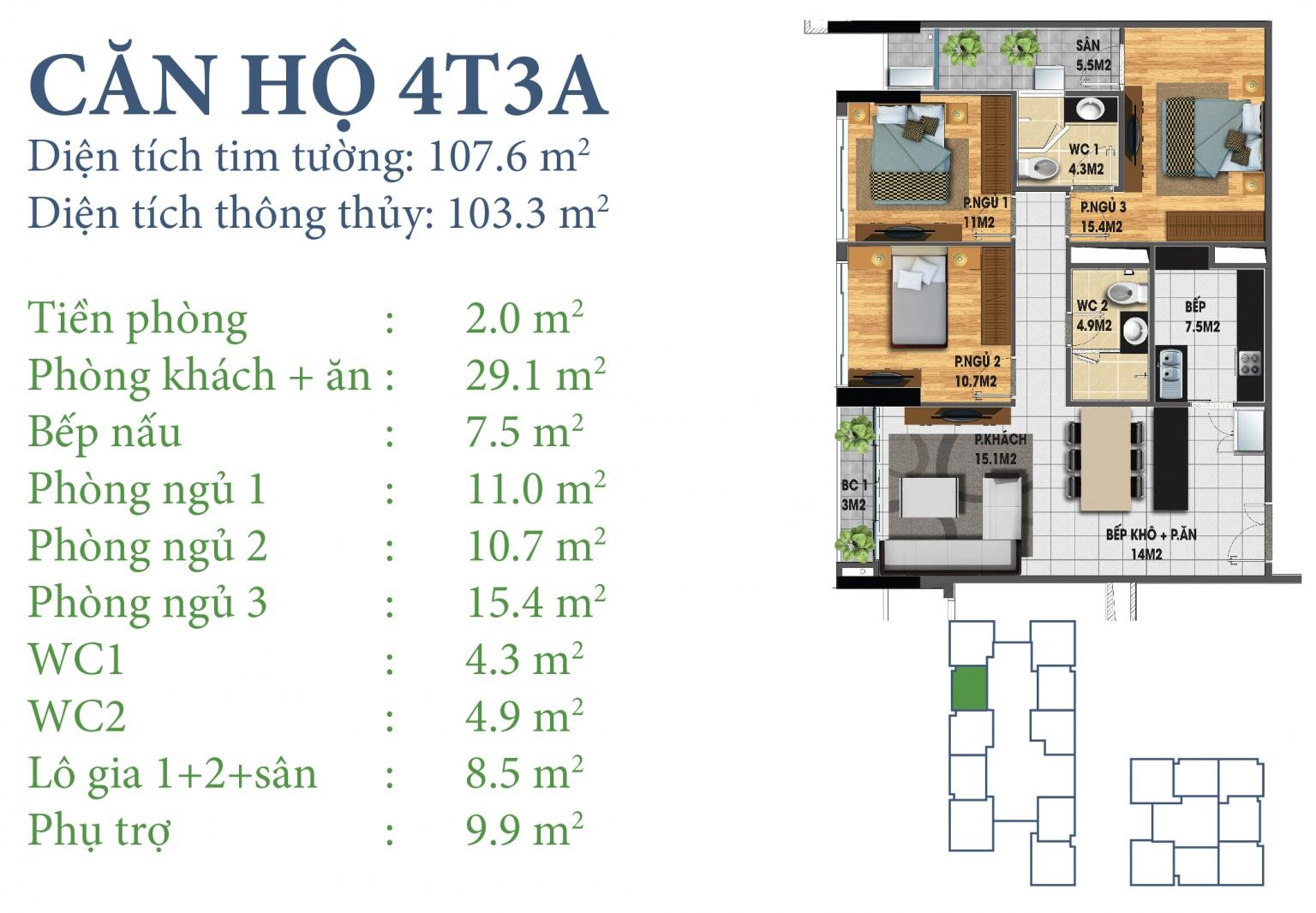 Tòa N03T3 – căn 4-T3A, S= 103,3m2 , Cửa: Đông, BC: Tây