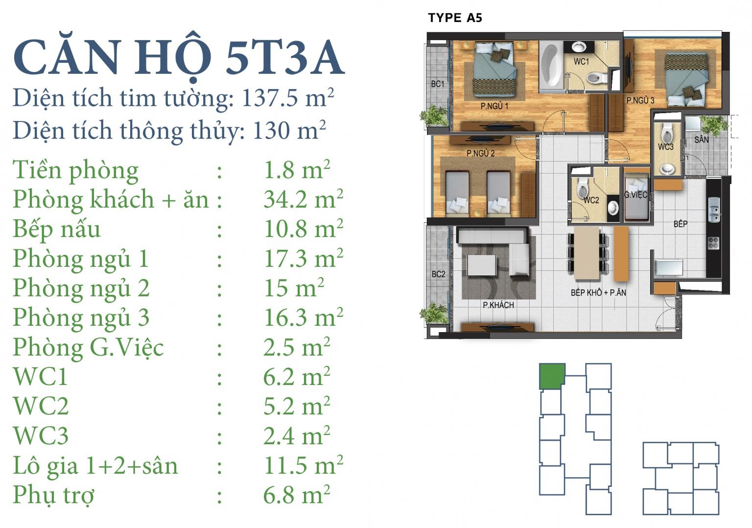 Tòa N03T3 – căn 5-T3A, S= 130m2 , Cửa: Đông, BC: Bắc – Đông – Tây