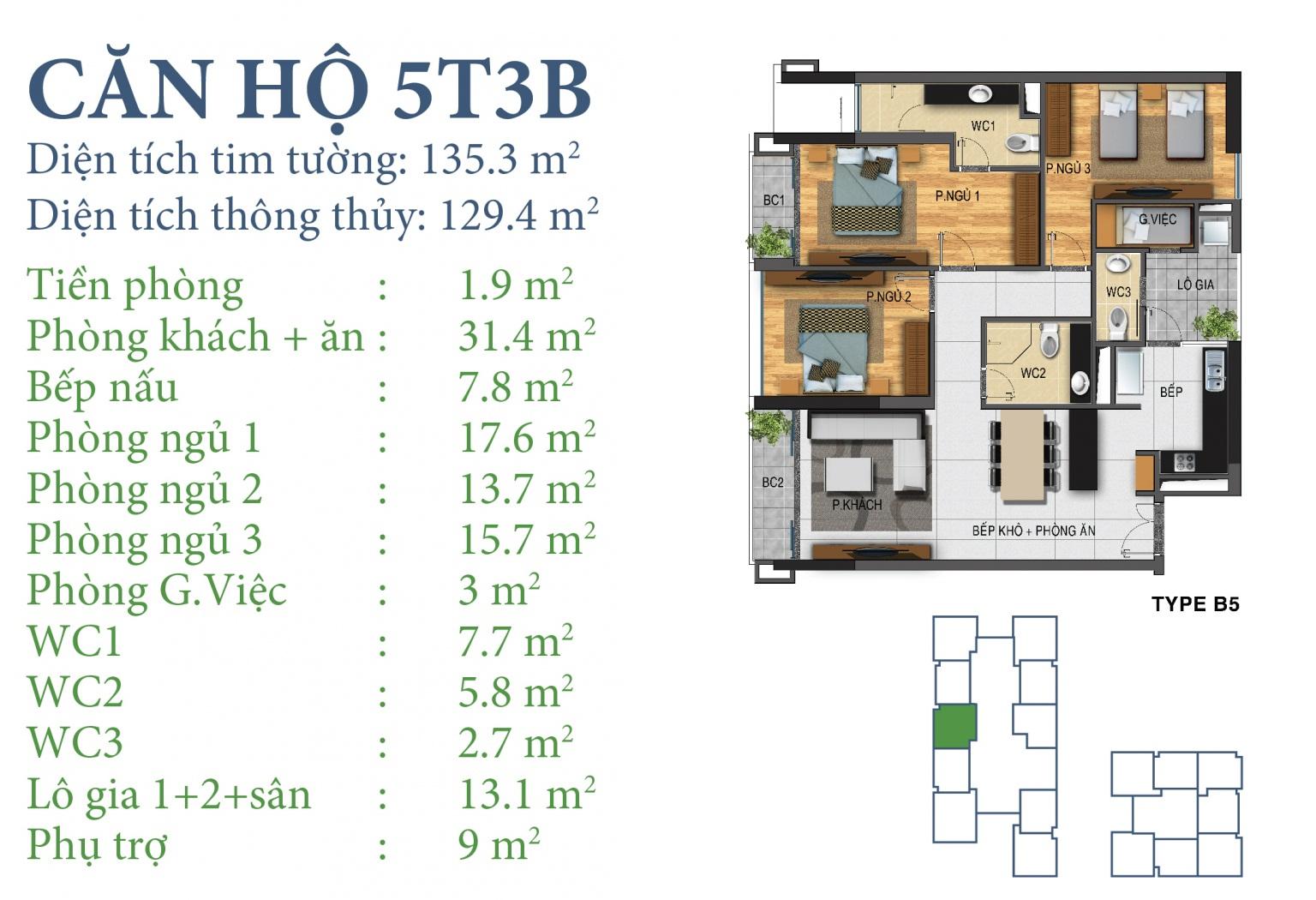 Tòa N03T3 – căn 5-T3B, S= 129,4m2 , Cửa: Đông, BC: Đông – Tây