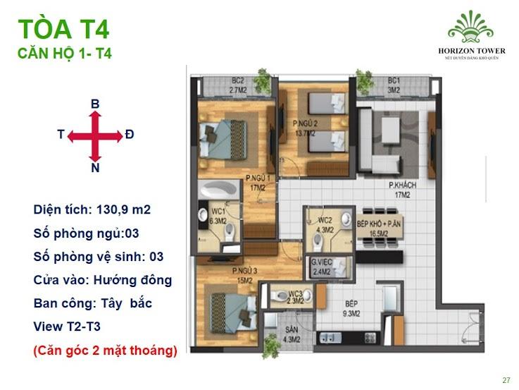 Tòa N03T4 – căn 1-T4, S= 130,9m2 , Cửa: Đông, BC: Bắc