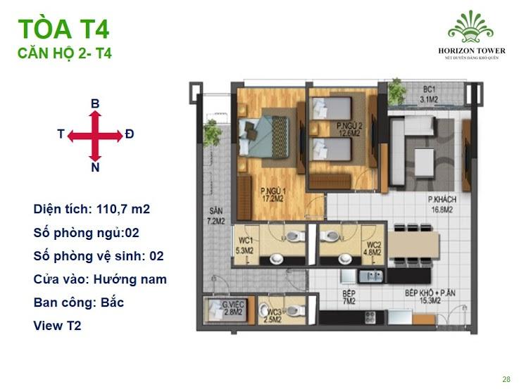 Tòa N03T4 – căn 2-T4, S= 110.7m2, Cửa: Nam, BC: Bắc