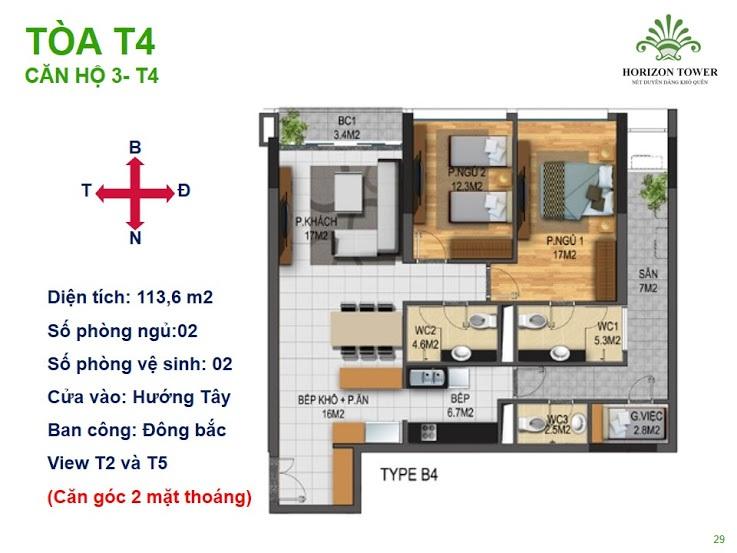 Tòa N03T4 – căn 3-T4, S= 113.6m2, Cửa: Nam, BC: Bắc