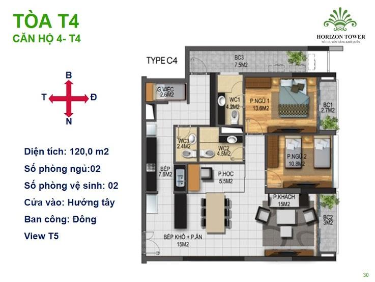 Tòa N03T4 – căn 4-T4, S= 120m2, Cửa: Tây, BC: Bắc