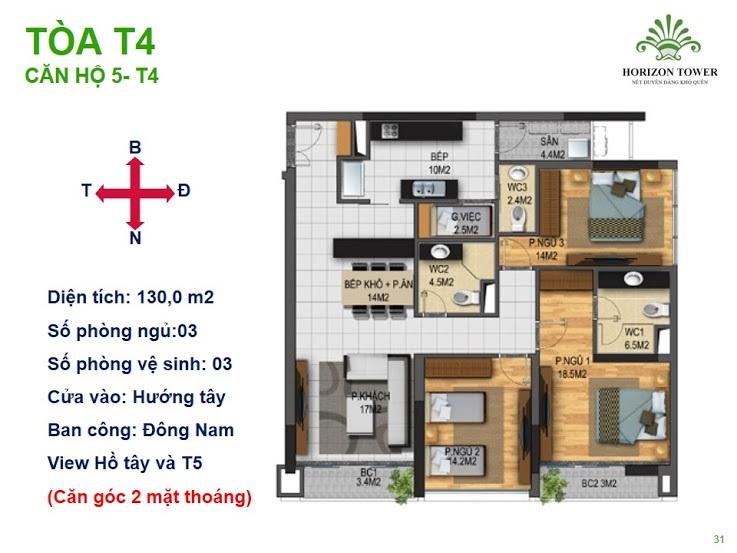Tòa N03T4 – căn 5-T4, S= 130m2, Cửa: Tây, BC: Bắc