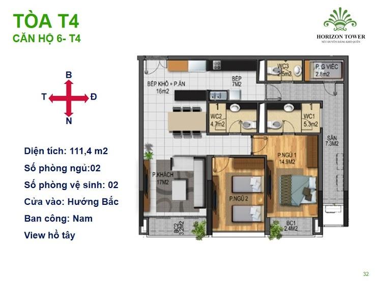 Tòa N03T4 – căn 6-T4, S= 111m2, Cửa: Bắc, BC: Nam