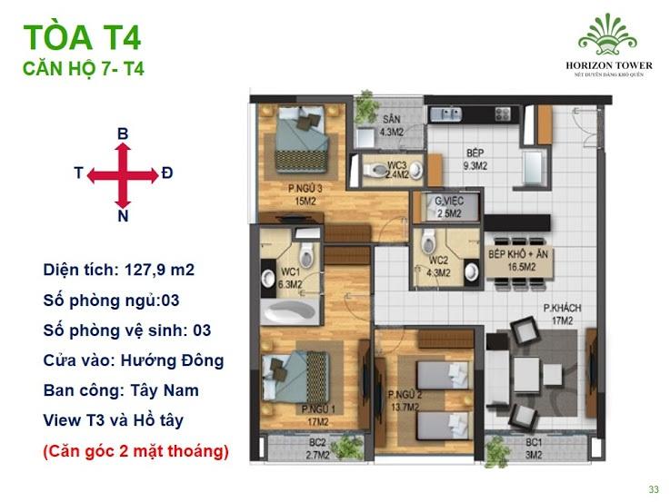 Tòa N03T4 – căn 7-T4, S= 127.9 m2, Cửa: Bắc, BC: Tây