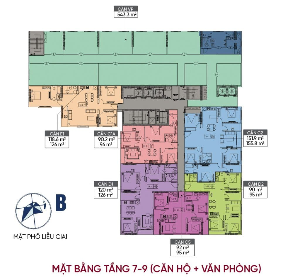 Mặt bằng tầng 7 - 9 căn hộ VP