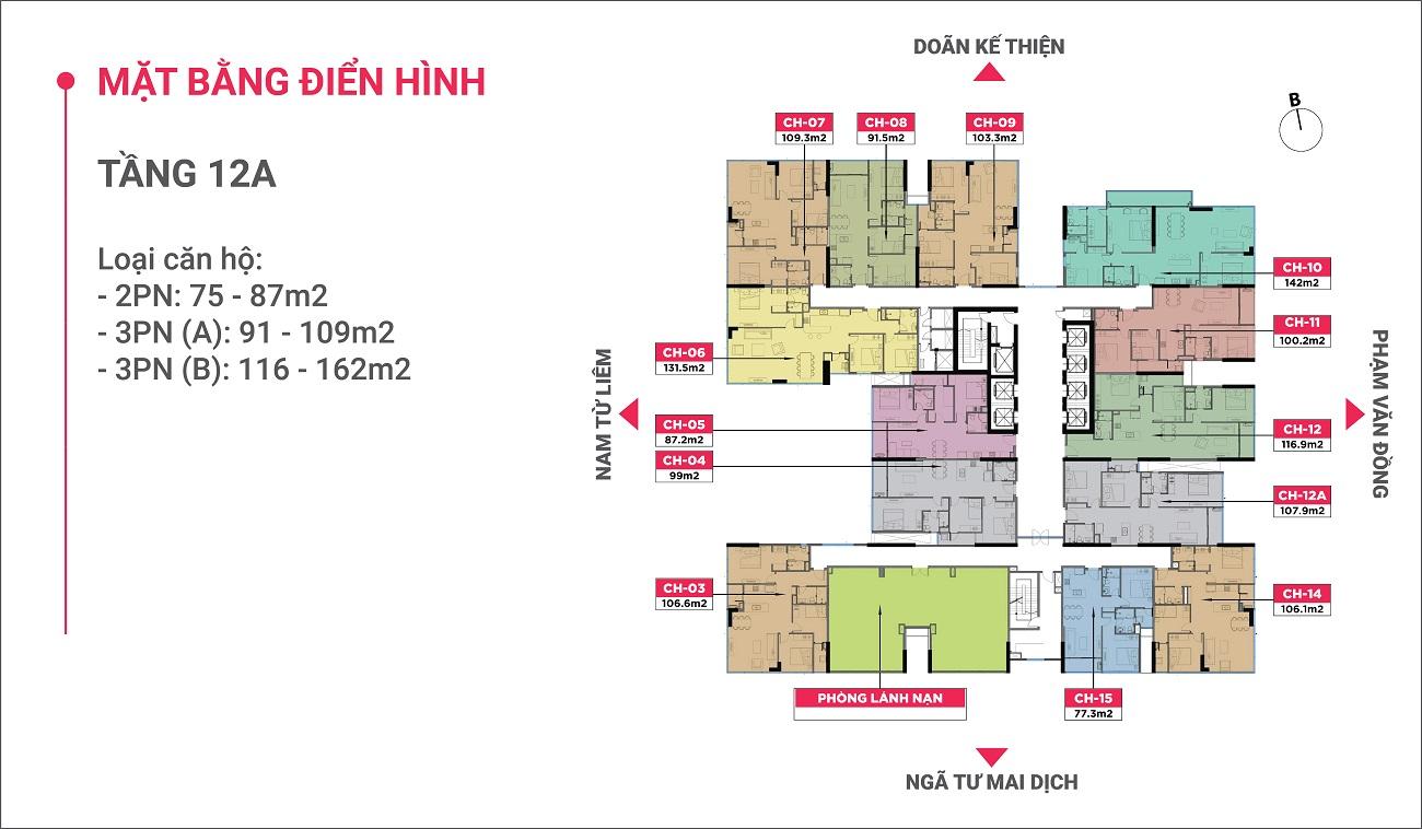 Mặt bằng điển hình Tầng 12A Chung cư The Nine