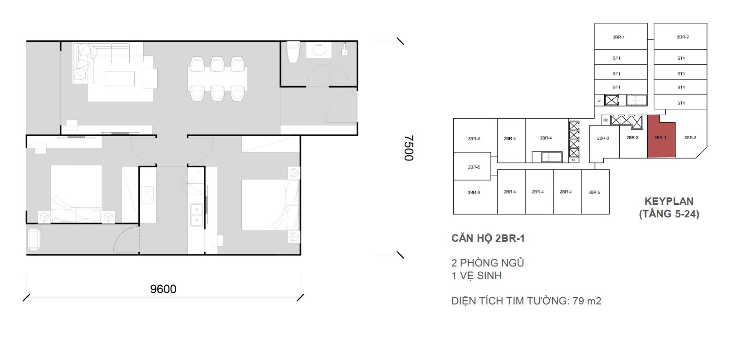 Căn 2 ngủ 1 wc - Diện tích 79 m2