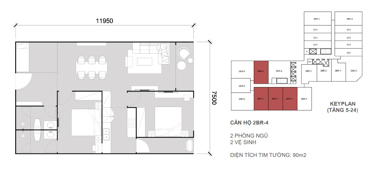 Thiết kề căn 2 ngủ 2 wc - Diện tích 90 m2