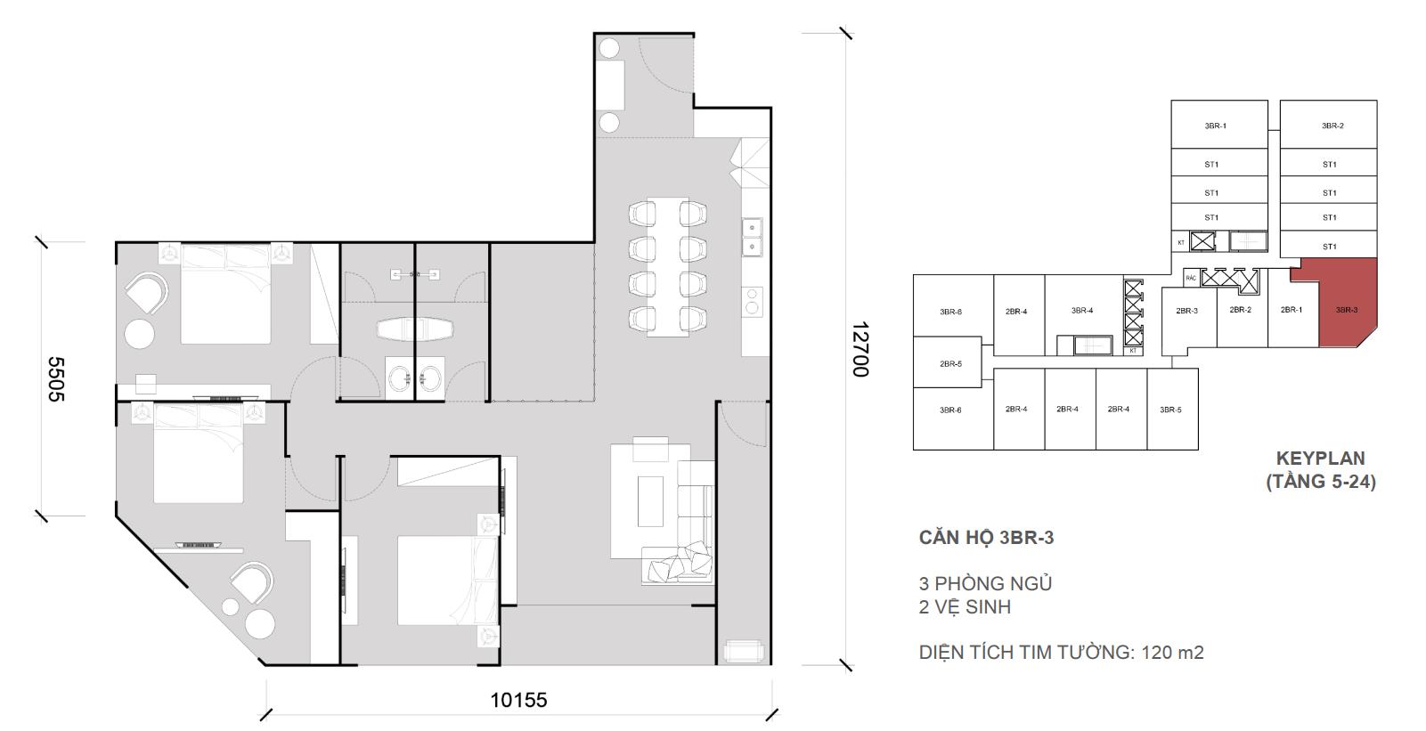 Thiết kề căn 3 ngủ 2 wc - Diện tích 120 m2