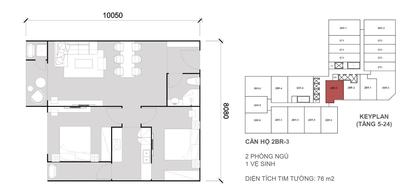 Thiết kề căn 2 ngủ 1 wc - Diện tích 76 m2