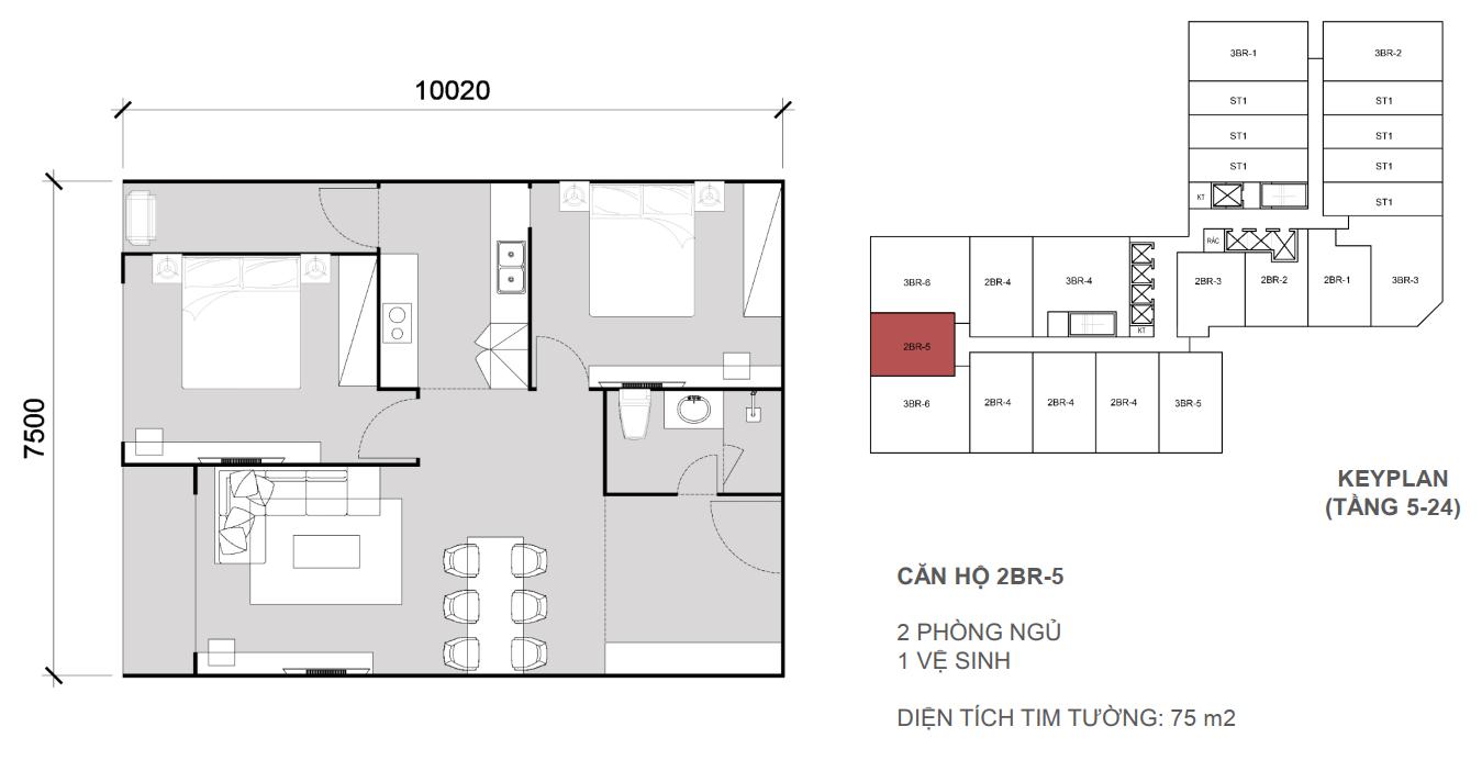 Thiết kề căn 2 ngủ 1 wc - Diện tích 75 m2