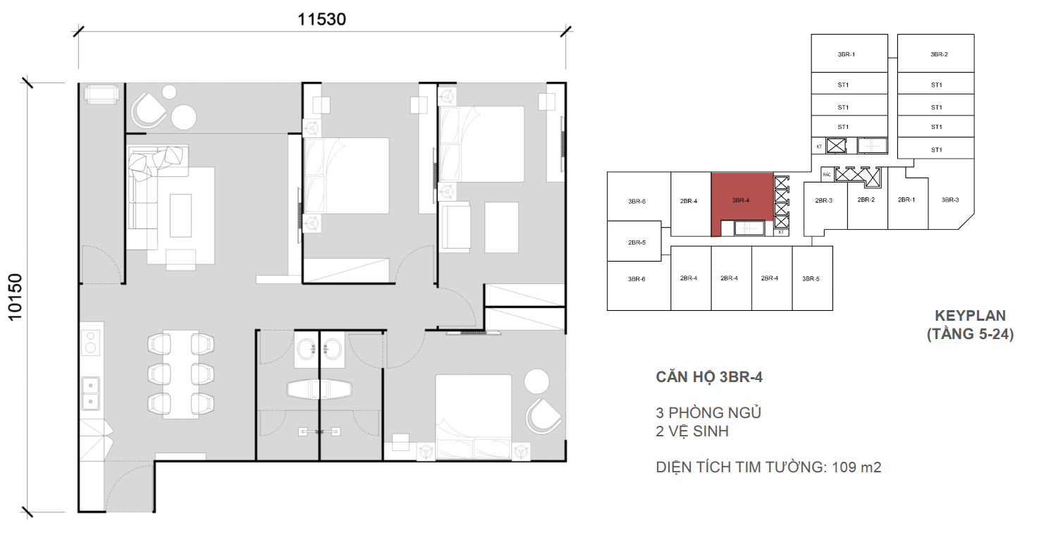 Thiết kề căn 3 ngủ 2 wc - Diện tích 109 m2