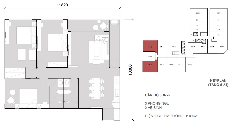 Thiết kề căn 3 ngủ 2 wc - Diện tích 110 m2