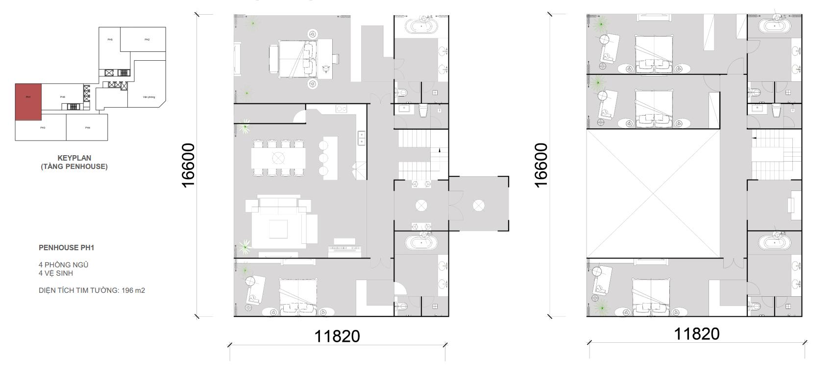Thiết kế căn Penhouse 01 - 4 ngủ 4 wc - Diện tích 196 m2