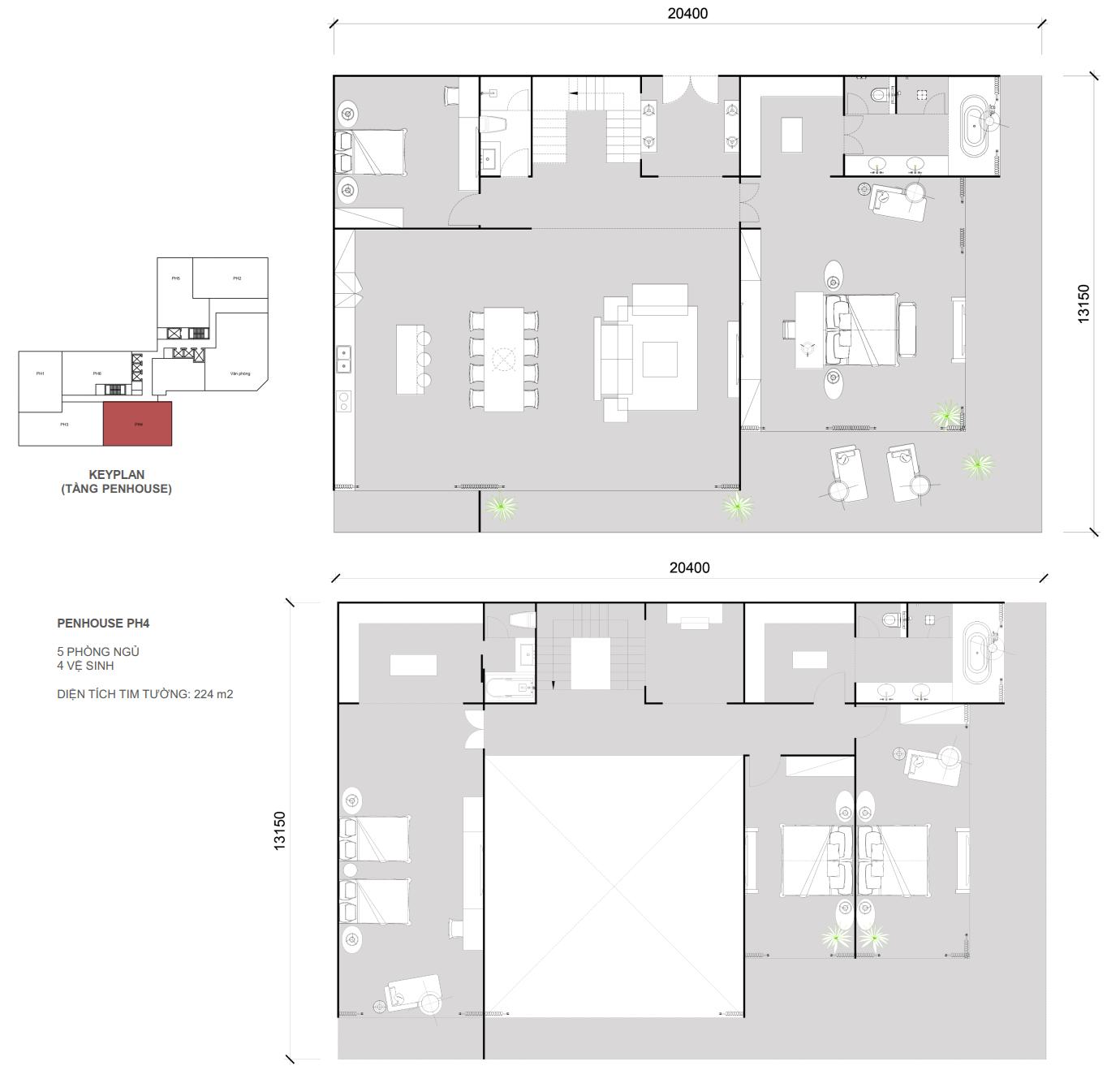 Thiết kế căn Penhouse 04 - 5 ngủ 4 wc - Diện tích 224 m2
