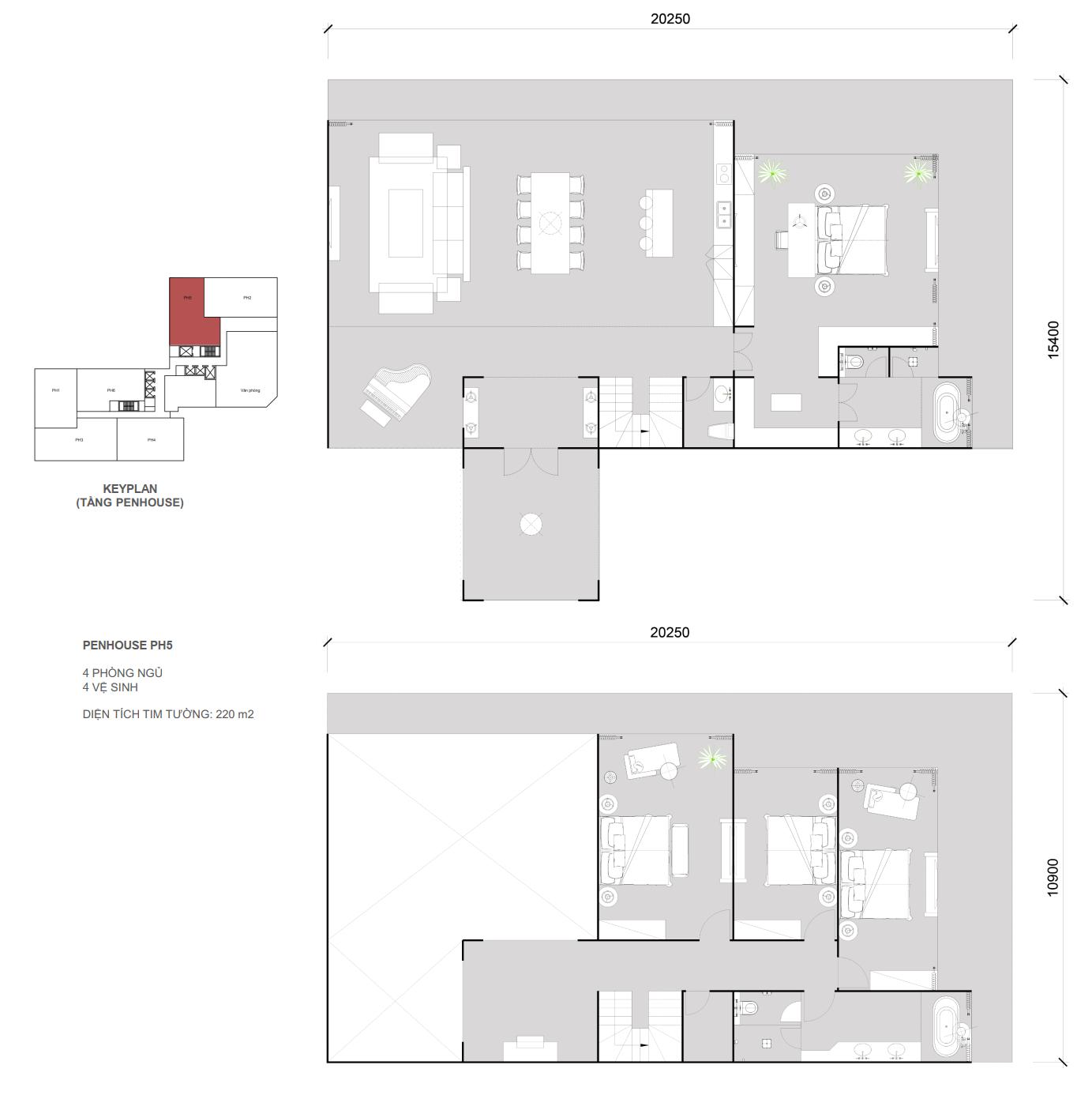 Thiết kế căn Penhouse 05 - 4 ngủ 4 wc - Diện tích 220 m2