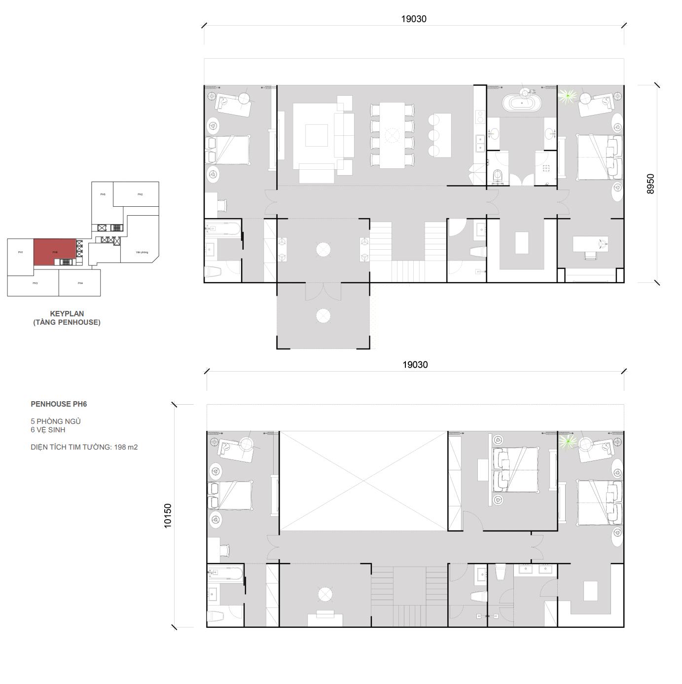 Thiết kế căn Penhouse 06 - 5 ngủ 6 wc - Diện tích 198 m2
