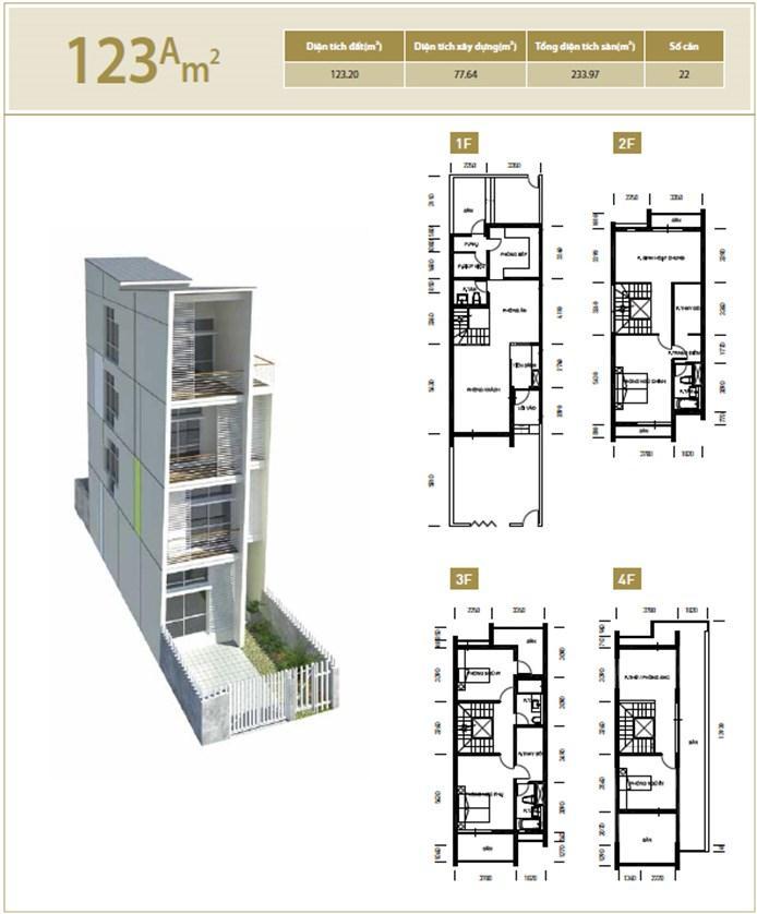 Căn hộ A 123 m2 Liền kề biệt thự Bắc An Khánh