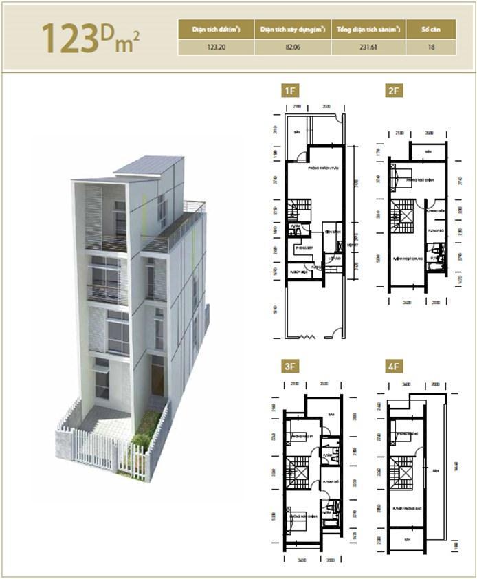 Căn hộ D 123 m2 Liền kề biệt thự Bắc An Khánh