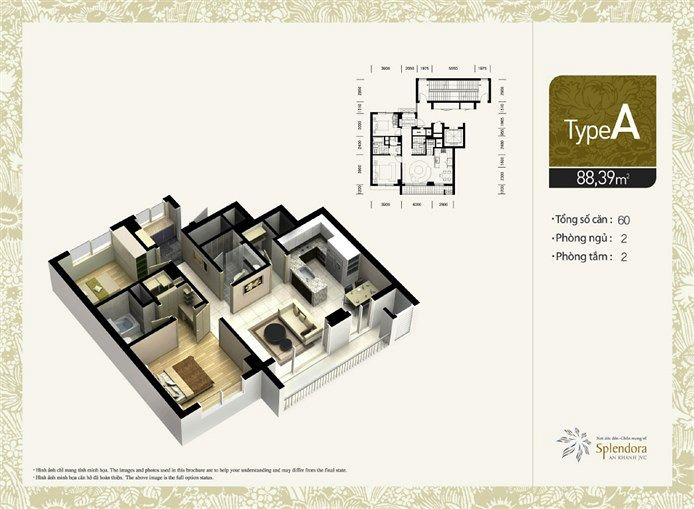 Căn hộ loại A:Gồm 60 căn. Diện tích 88,30m2. Thiết kế 2 phòng phủ, 2 phòng tắm.