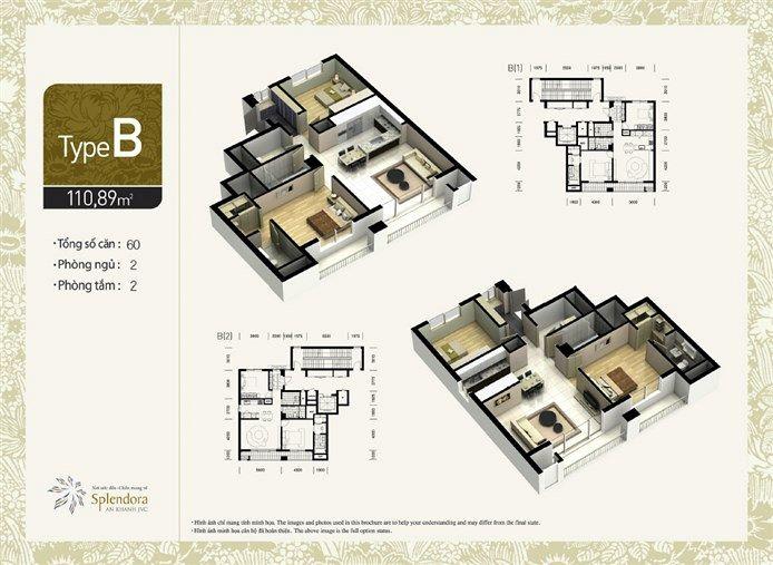 Căn hộ loại B:Gồm 60 căn. Diện tích 110,89m2. Thiết kế 2 phòng phủ, 2 phòng tắm.