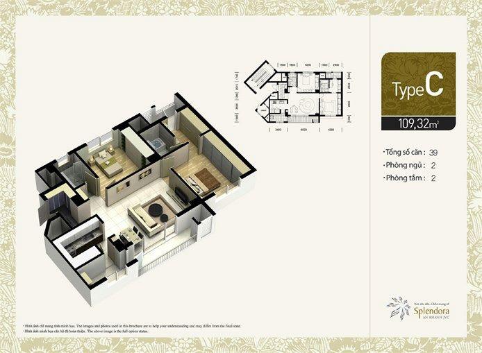 Căn hộ loại C:Gồm 39 căn. Diện tích 109,32m2. Thiết kế 2 phòng phủ, 2 phòng tắm.